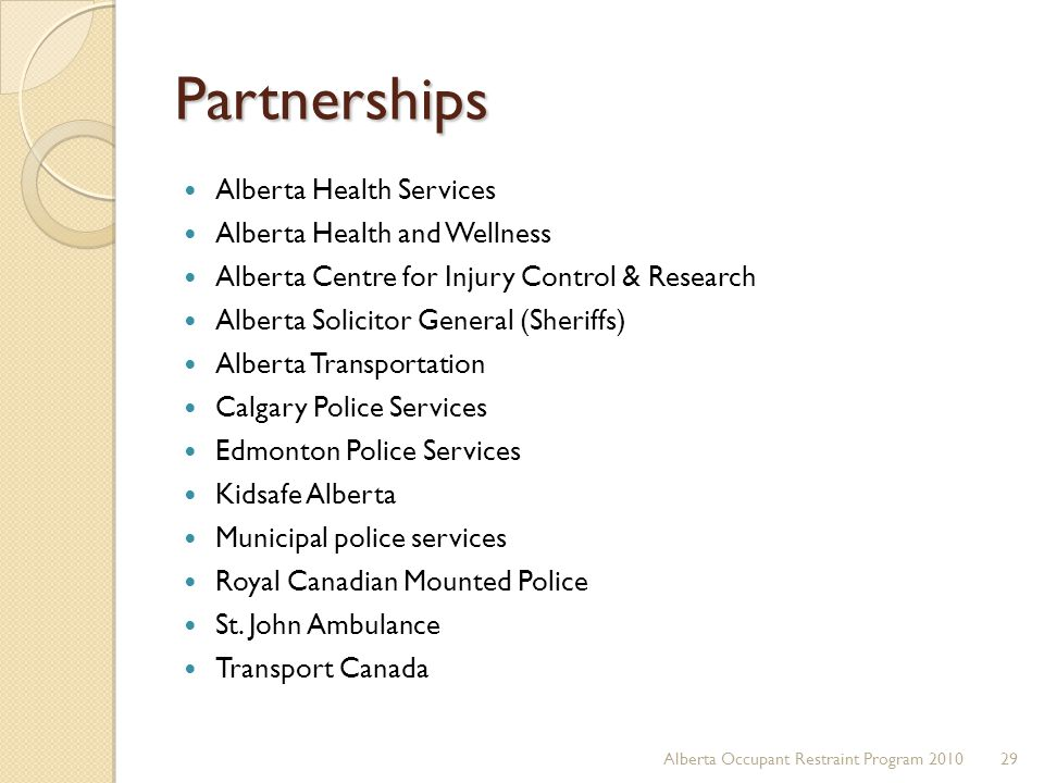 Partnerships Alberta Health Services Alberta Health and Wellness