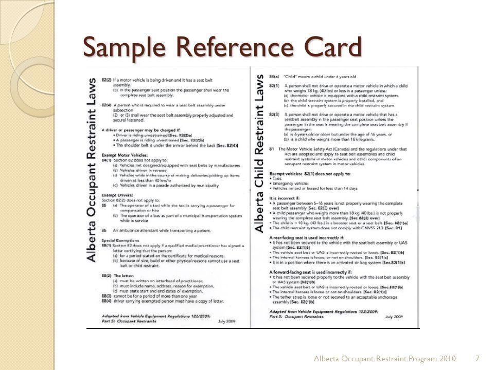 Sample Reference Card Alberta Occupant Restraint Program 2010