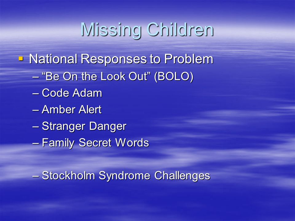 Missing Children National Responses to Problem