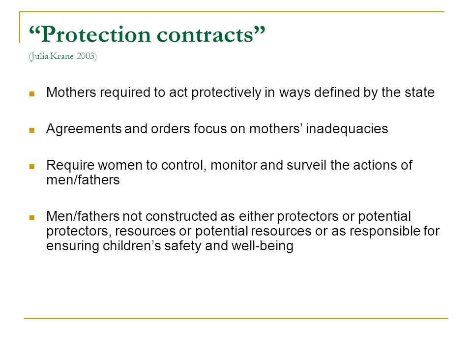 Protection contracts (Julia Krane 2003)