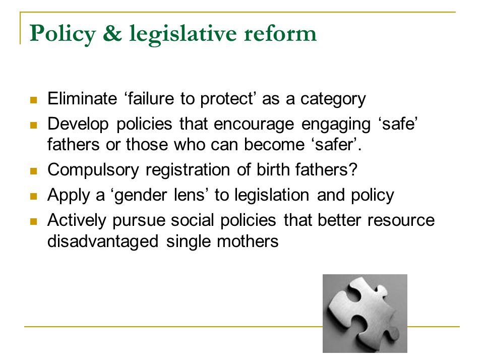 Policy & legislative reform
