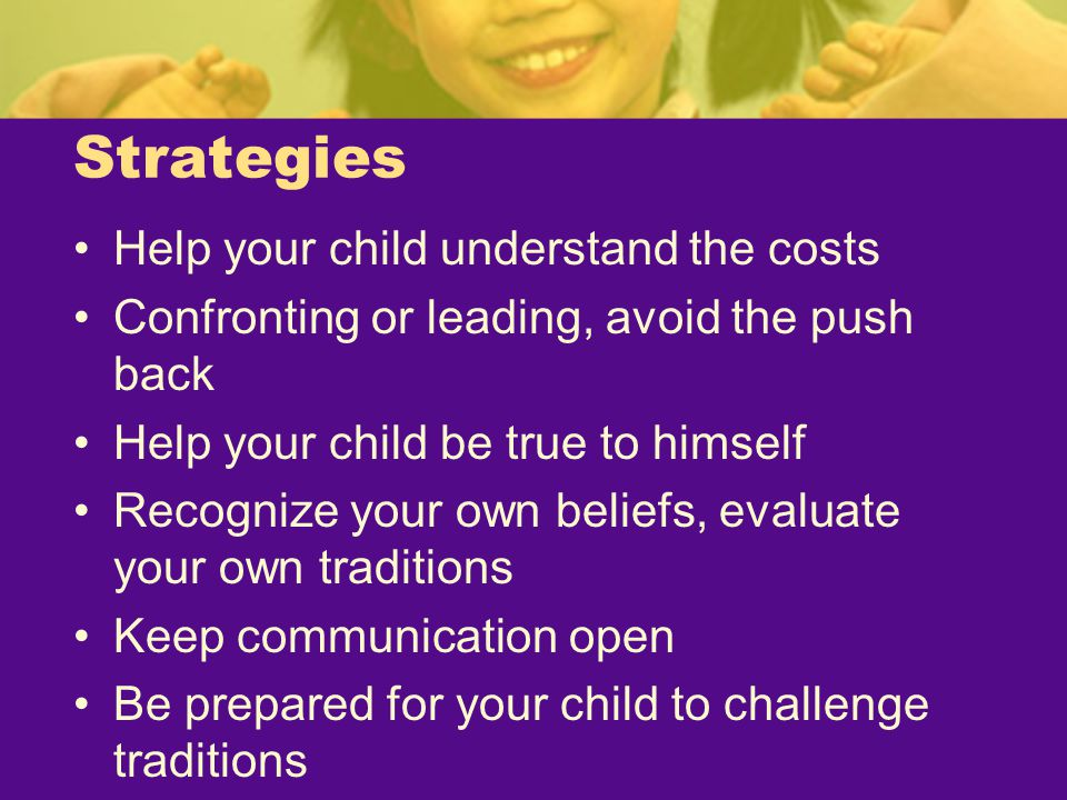 Strategies Help your child understand the costs
