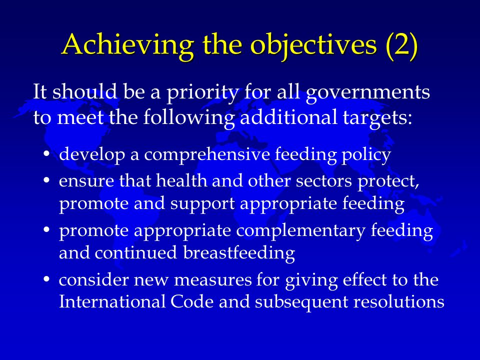 Achieving the objectives (2)