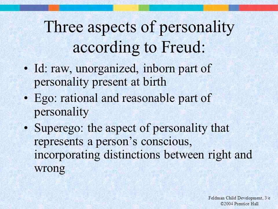 Three aspects of personality according to Freud: