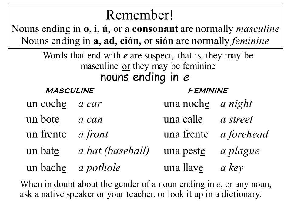Remember! nouns ending in e un coche a car una noche a night un bote