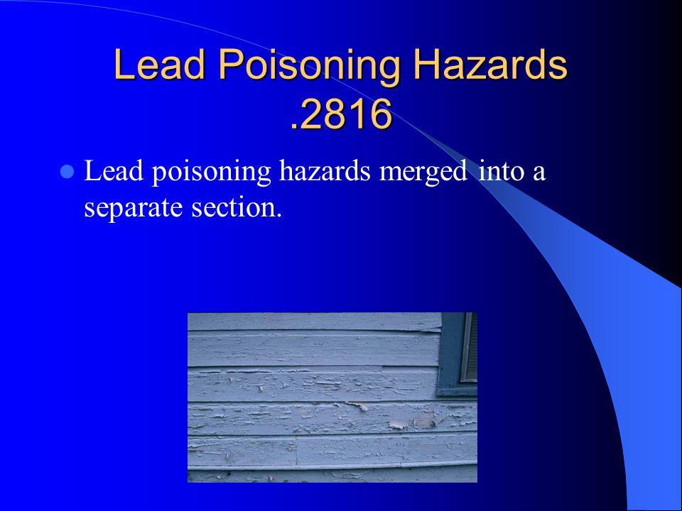Lead Poisoning Hazards .2816