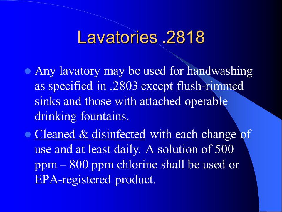 Lavatories .2818