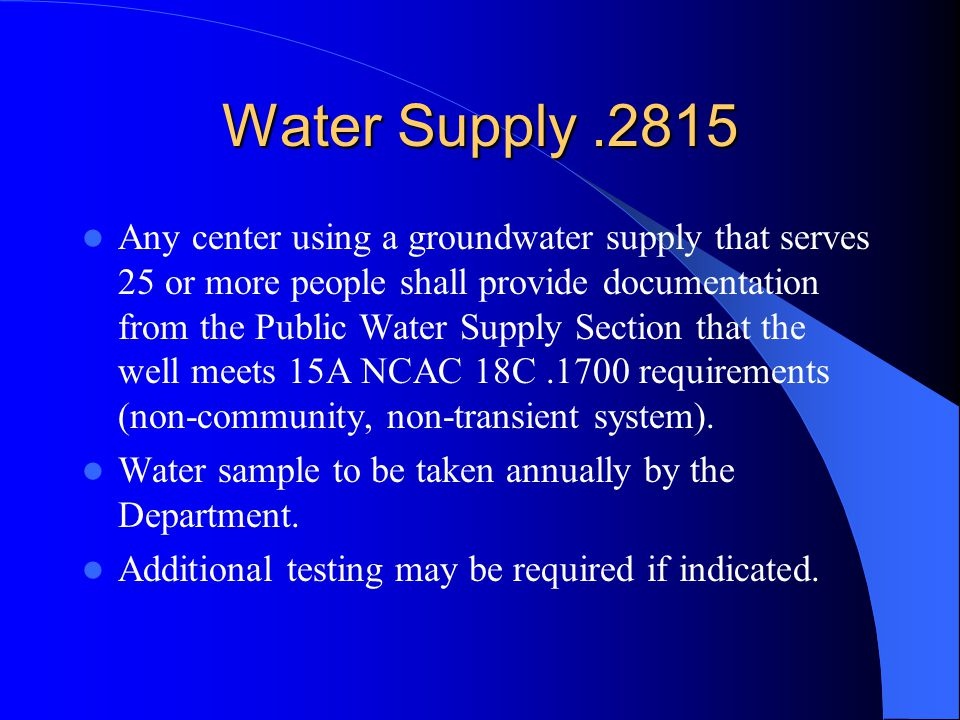 Water Supply .2815