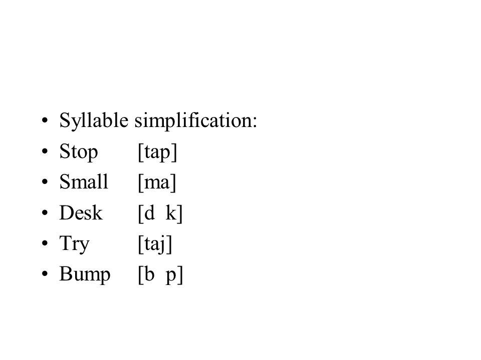 Syllable simplification: