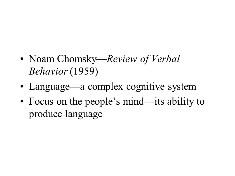 Noam Chomsky—Review of Verbal Behavior (1959)
