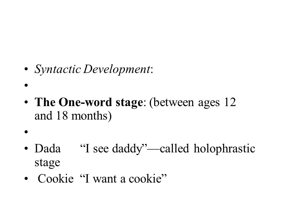 Syntactic Development: