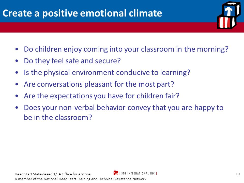Create a positive emotional climate