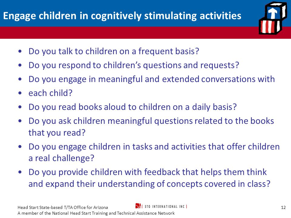 Engage children in cognitively stimulating activities