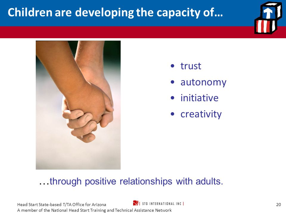 Children are developing the capacity of…
