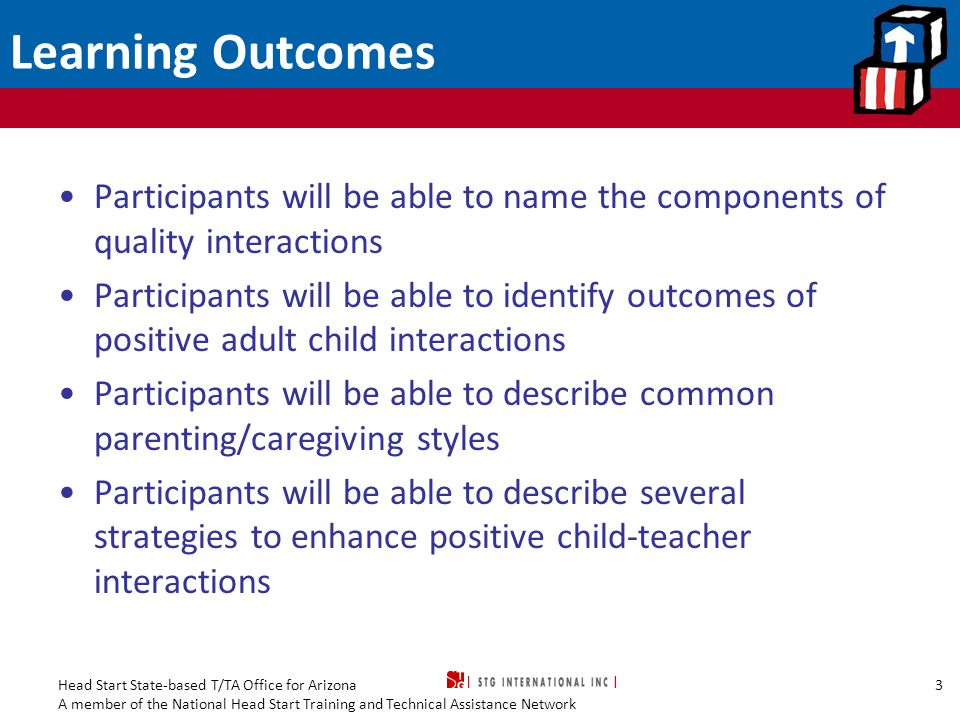 Learning Outcomes Participants will be able to name the components of quality interactions.