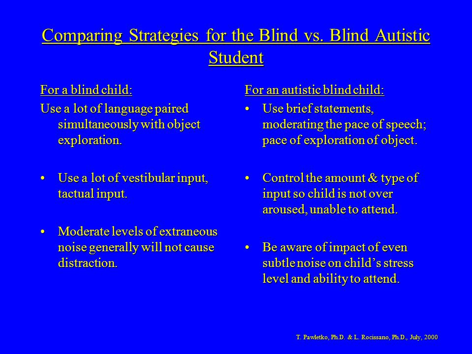 Comparing Strategies for the Blind vs. Blind Autistic Student