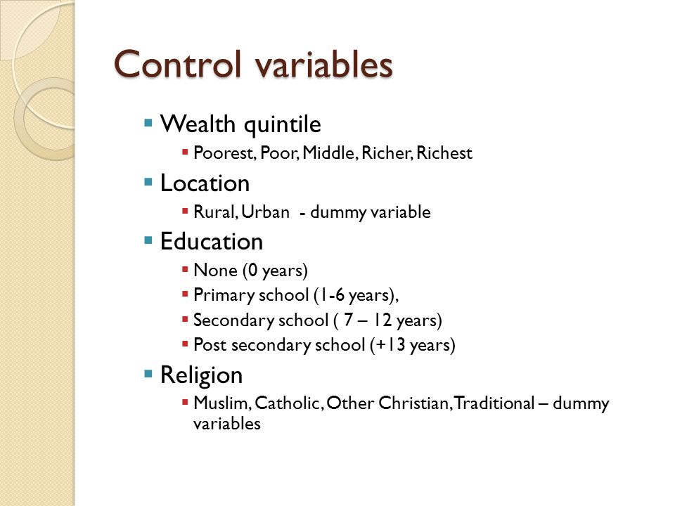 Control variables Wealth quintile Location Education Religion