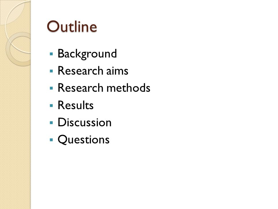 Outline Background Research aims Research methods Results Discussion