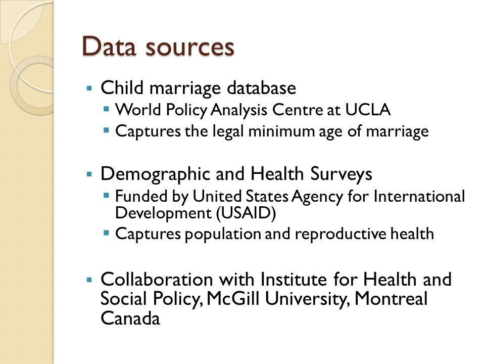 Data sources Child marriage database Demographic and Health Surveys