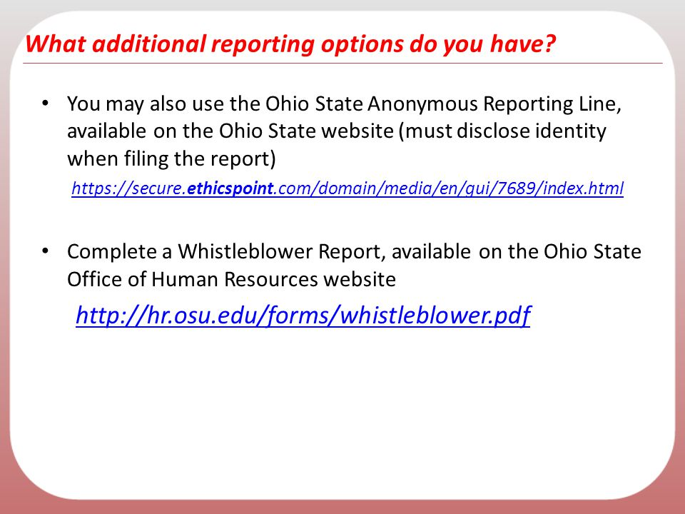What additional reporting options do you have