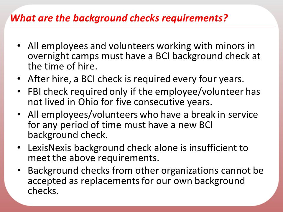 What are the background checks requirements