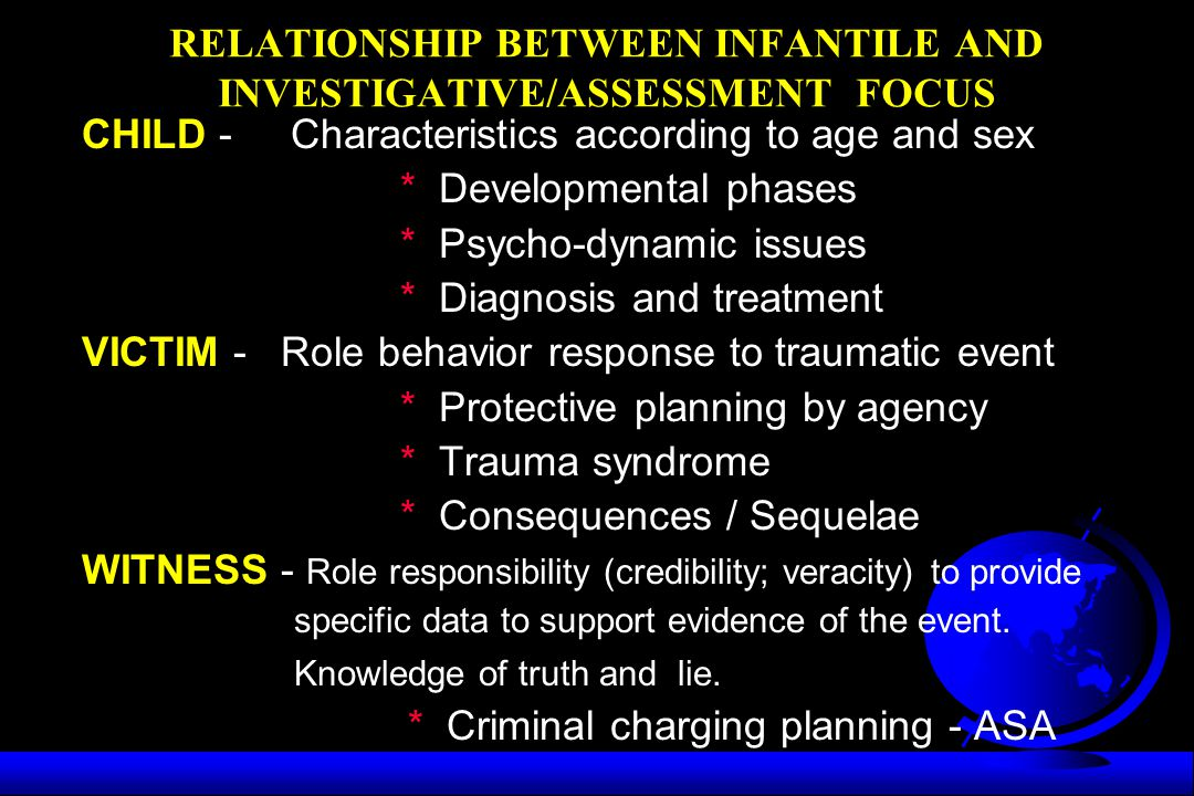 RELATIONSHIP BETWEEN INFANTILE AND INVESTIGATIVE/ASSESSMENT FOCUS
