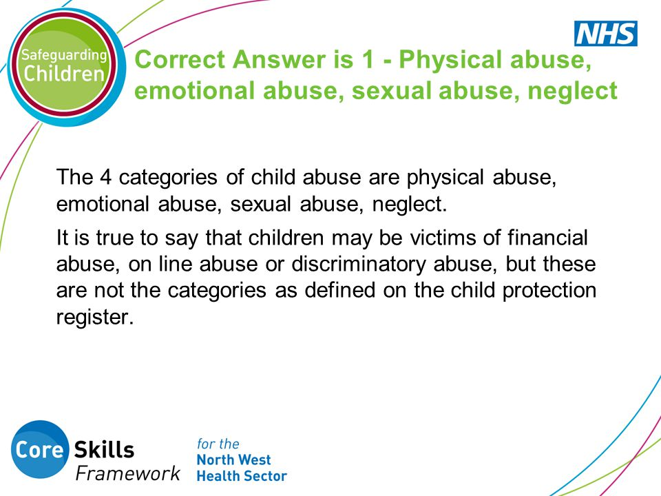 Correct Answer is 1 - Physical abuse, emotional abuse, sexual abuse, neglect