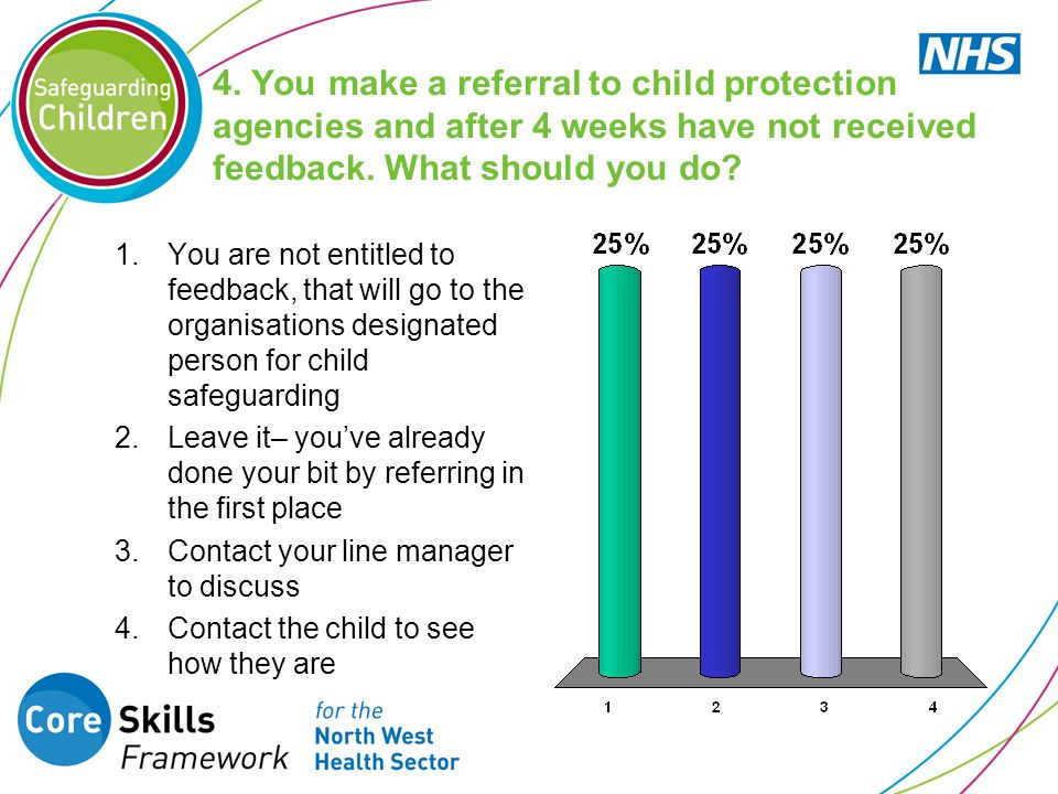 4. You make a referral to child protection agencies and after 4 weeks have not received feedback. What should you do
