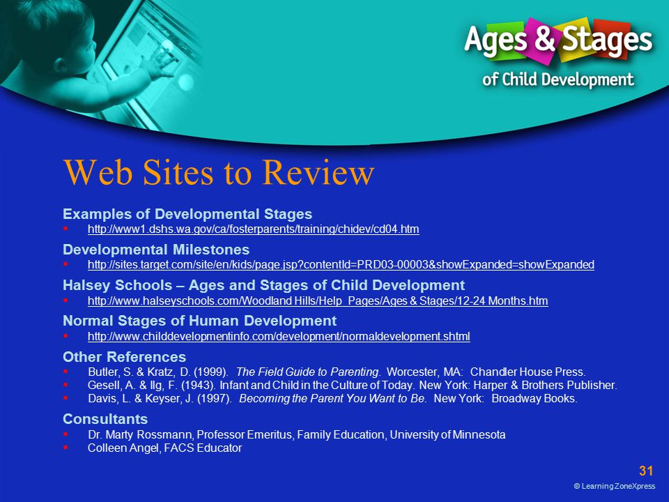 Web Sites to Review Examples of Developmental Stages