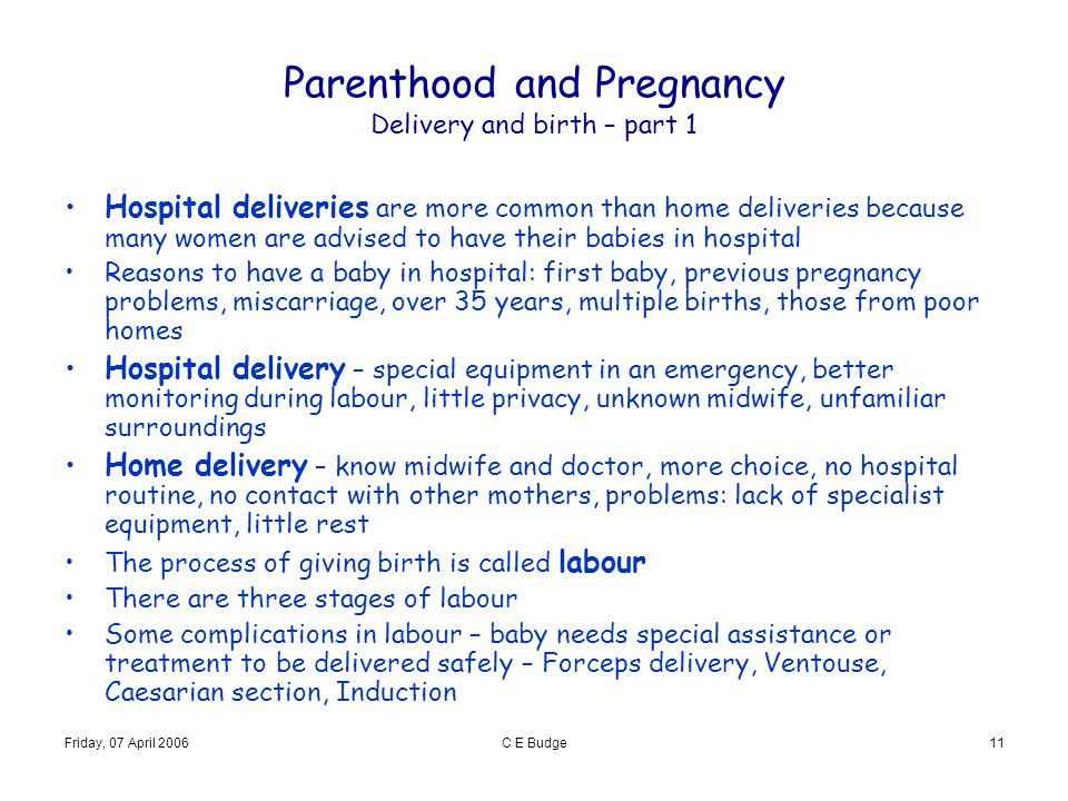 Parenthood and Pregnancy Delivery and birth – part 1
