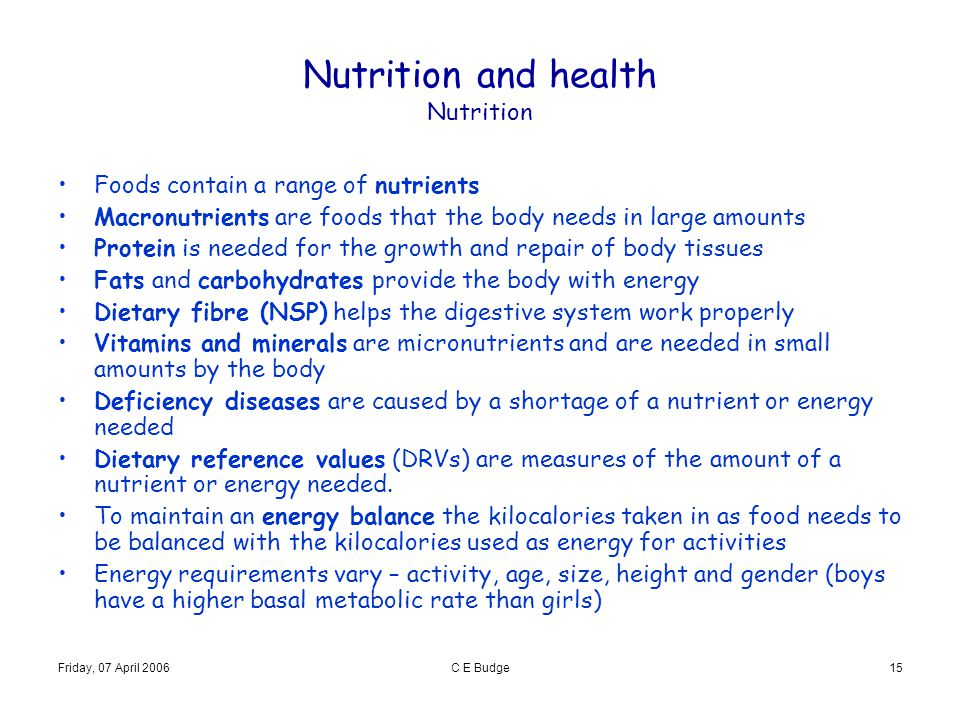 Nutrition and health Nutrition