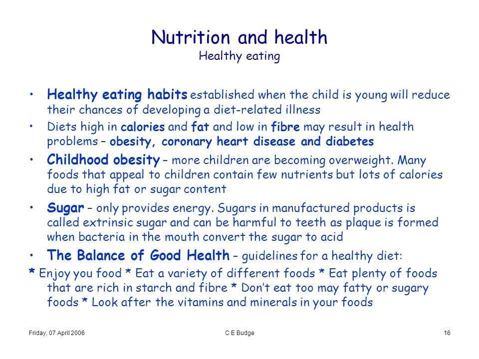 Nutrition and health Healthy eating