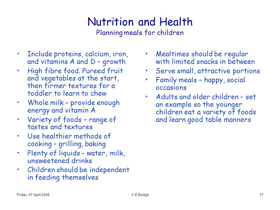 Nutrition and Health Planning meals for children