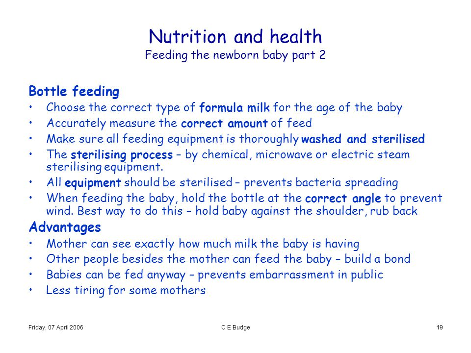 Nutrition and health Feeding the newborn baby part 2