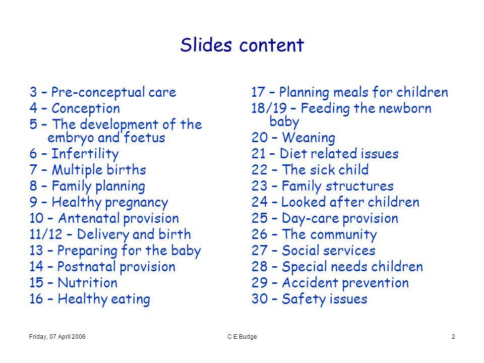Slides content 3 – Pre-conceptual care 4 – Conception