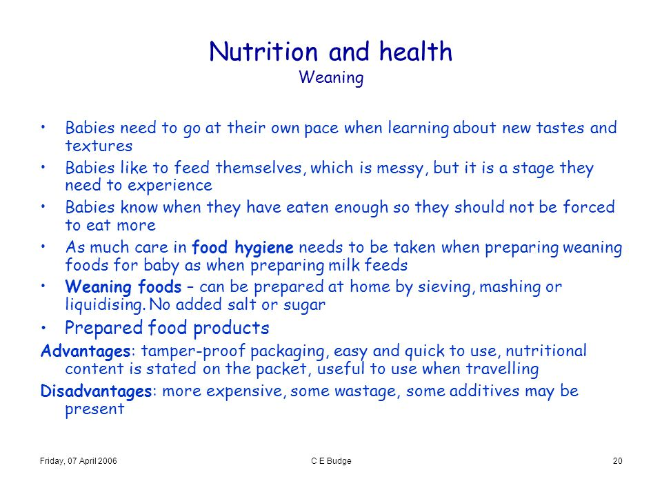 Nutrition and health Weaning