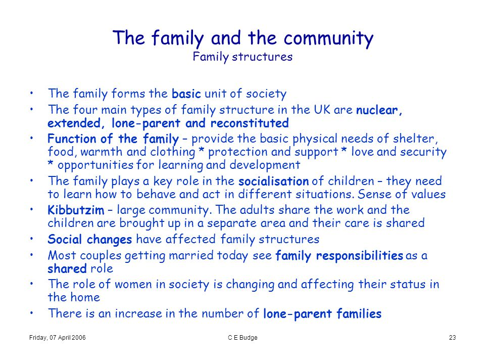 The family and the community Family structures