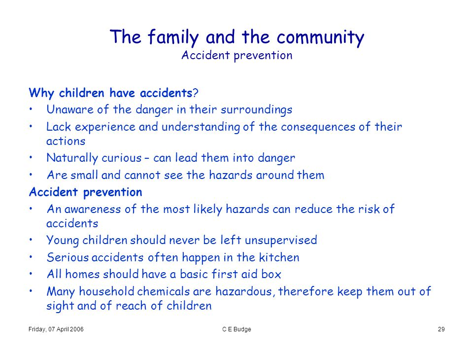 The family and the community Accident prevention