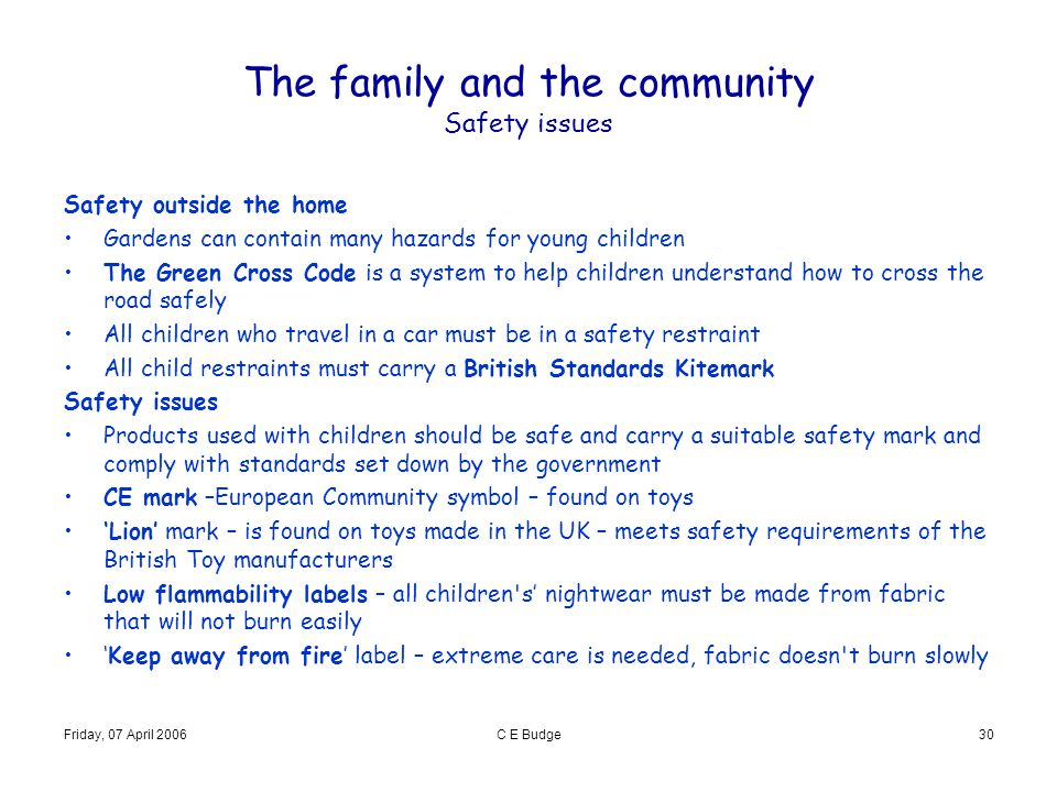 The family and the community Safety issues