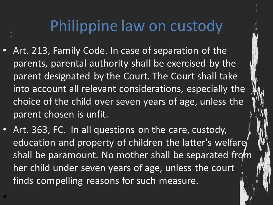 Philippine law on custody