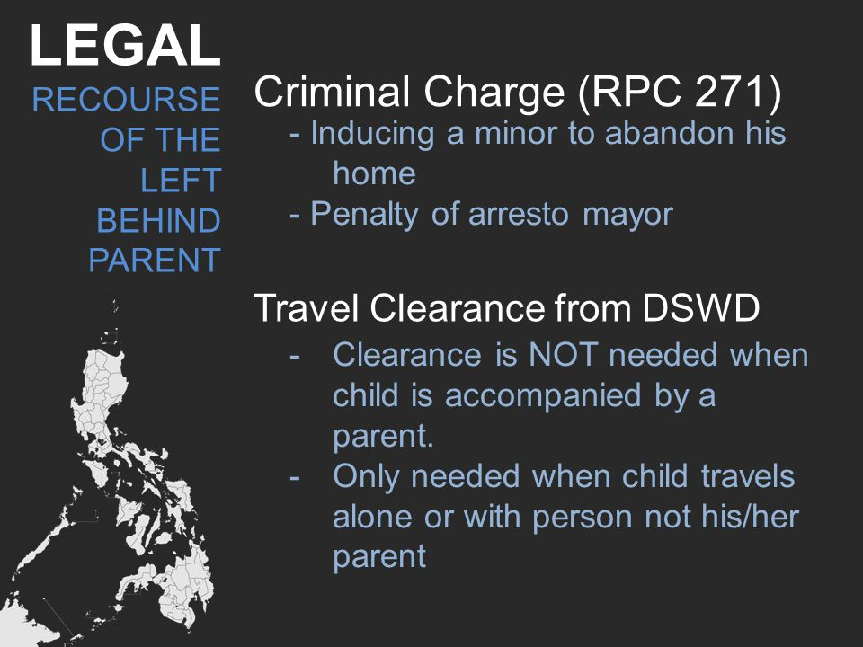 LEGAL Criminal Charge (RPC 271) Travel Clearance from DSWD