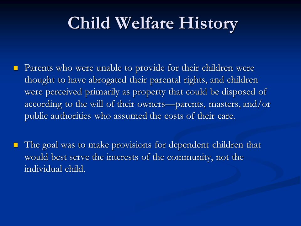 Child Welfare History