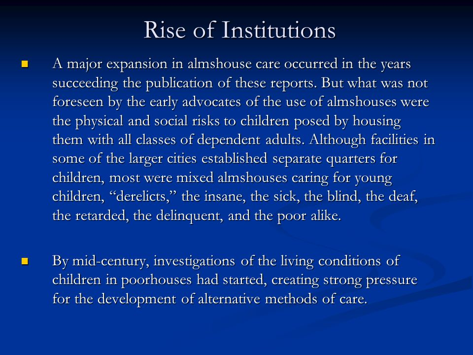 Rise of Institutions