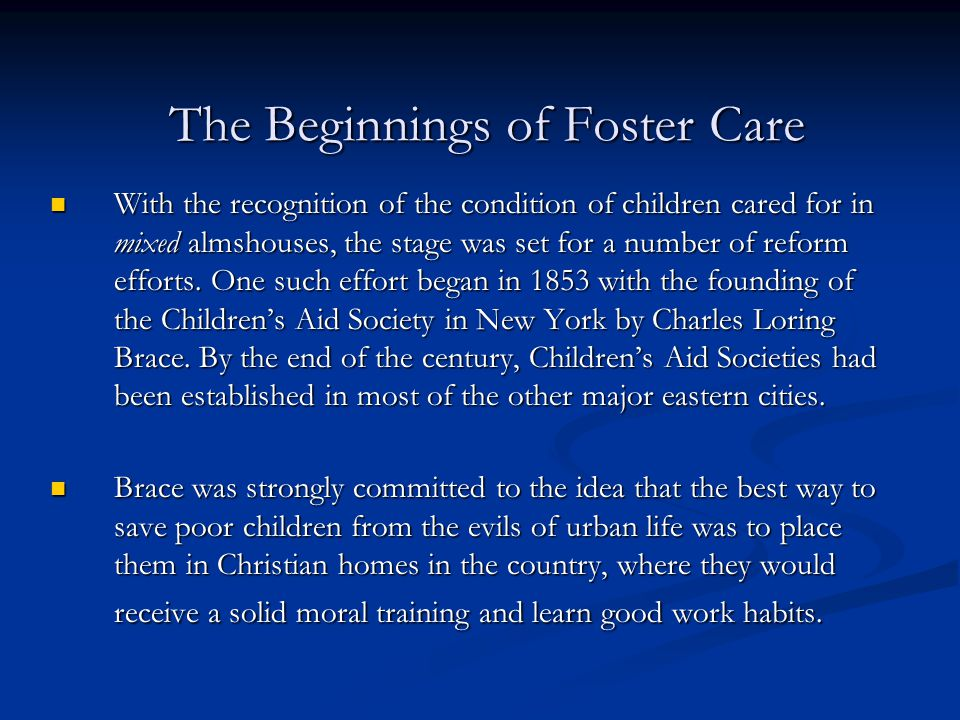 The Beginnings of Foster Care