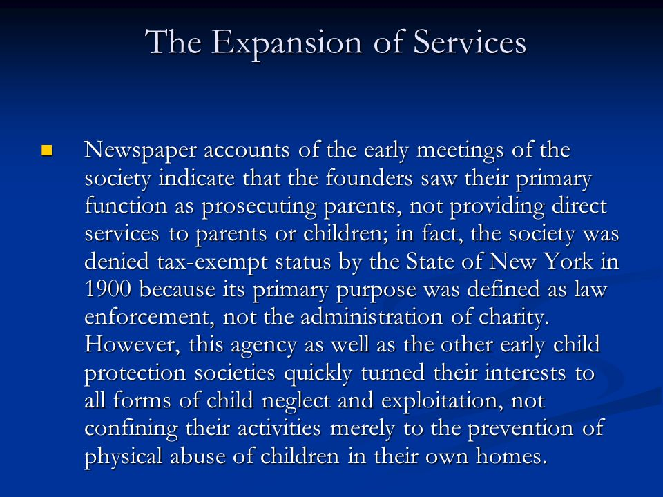 The Expansion of Services
