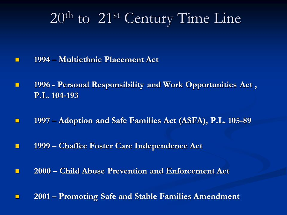 20th to 21st Century Time Line