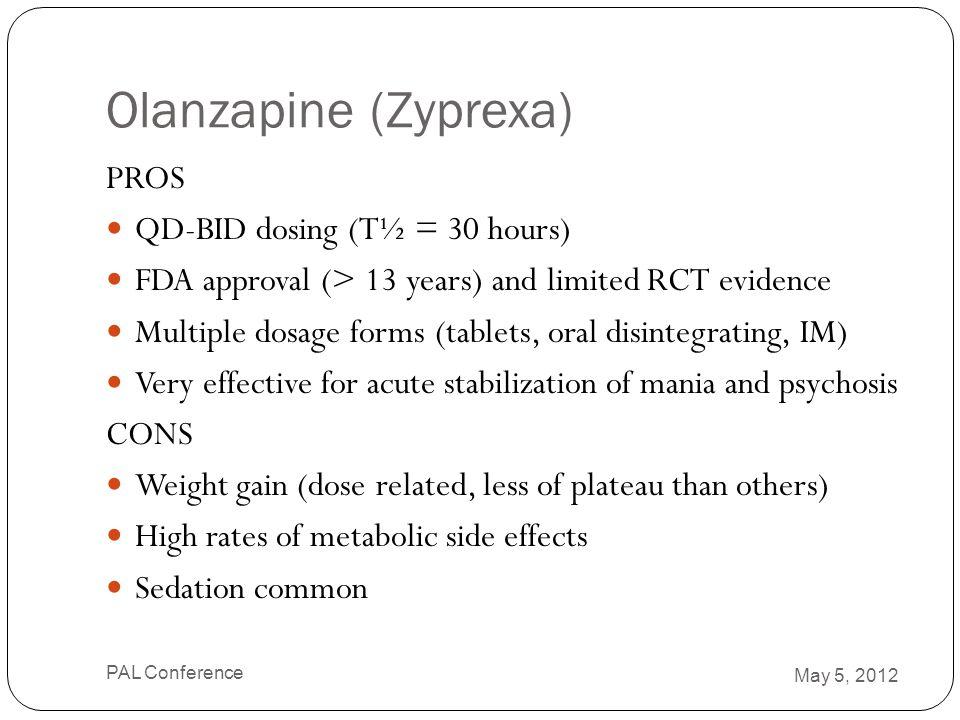 Olanzapine (Zyprexa) PROS QD-BID dosing (T½ = 30 hours)