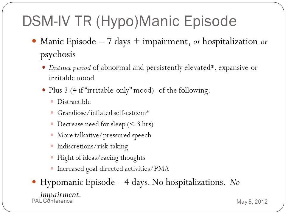 DSM-IV TR (Hypo)Manic Episode