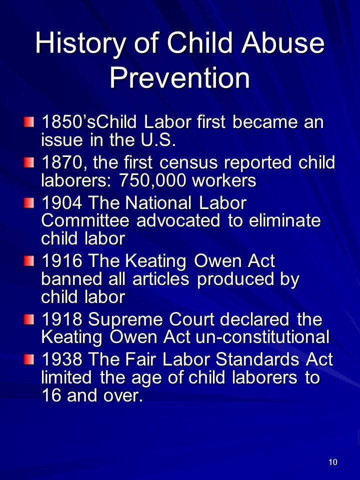 History of Child Abuse Prevention
