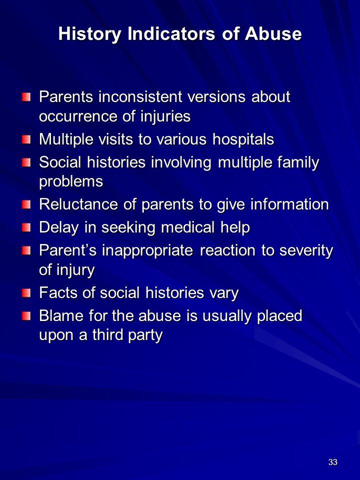 History Indicators of Abuse
